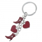 Stylish Hearts + Boots Style Zinc Alloy Keychain - Silver + Red