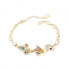 Peacock Style Shiny Crystal Bracelet - Multicolored