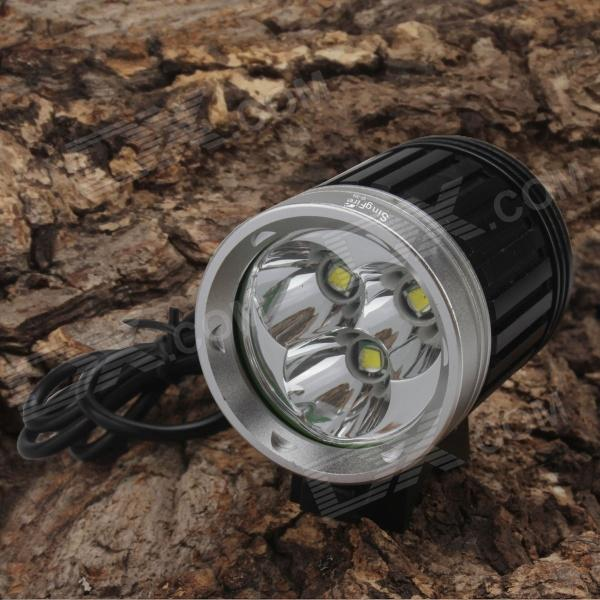 SingFire SF-302 2400lm White 4-Mode LED Bicycle Headlight w/ 3 x CREE T6 - Black (4x18650)