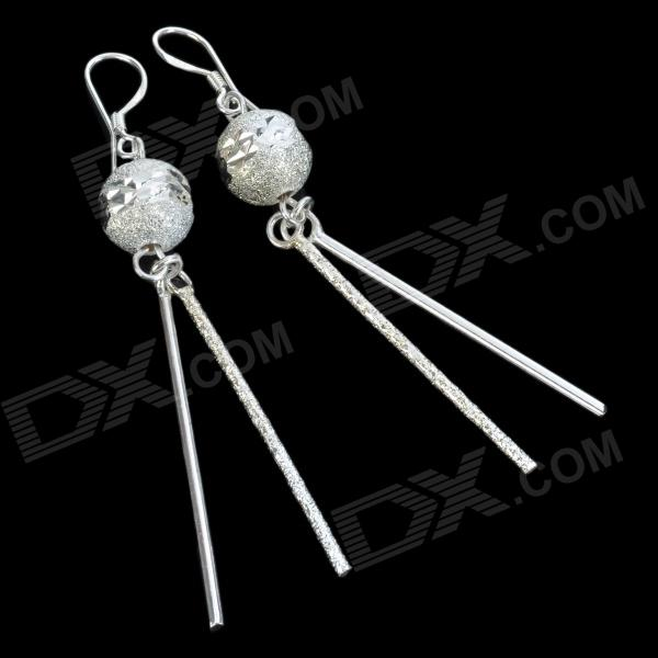 Carved Pearl Tassel Silver-Plated Earring - Silver