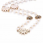 eQute POTW3 Elegant Daisy Flower Style Pearl Necklace - Golden + White