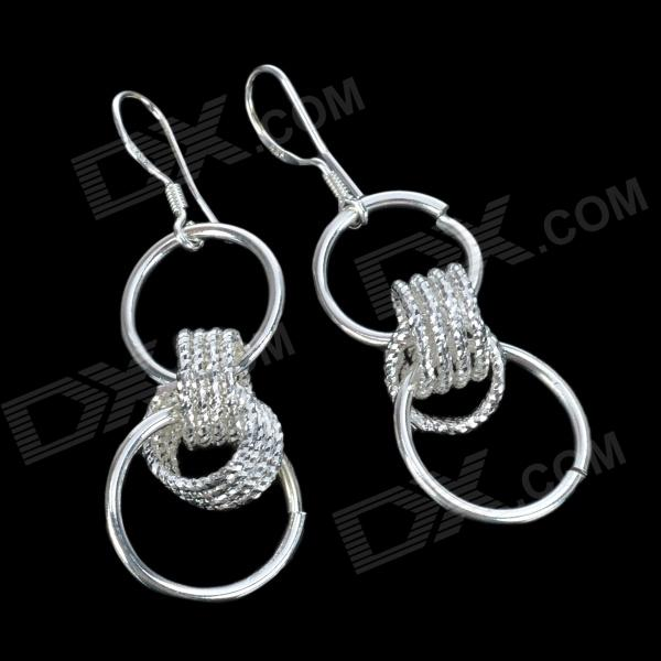 Ring-in-Ring Silver-Plated Earring - Silver