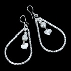 Heart-in-Ring Silver Plated Earring - Silver