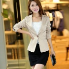 Women's Fashion One-button Slim Suit Jacket - Beige (L)