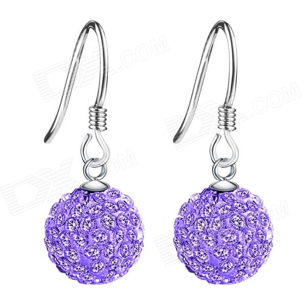 Фото eQute ESIW107C2 925 Sterling Silver Shiny Austrilia Crystal Earrings - Purple natassie women crystal clutches bags ladies evening bag female red purple party clutch wedding purse