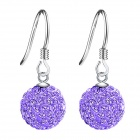 eQute ESIW107C2 925 Sterling Silver Shiny Austrilia Crystal Earrings - Purple