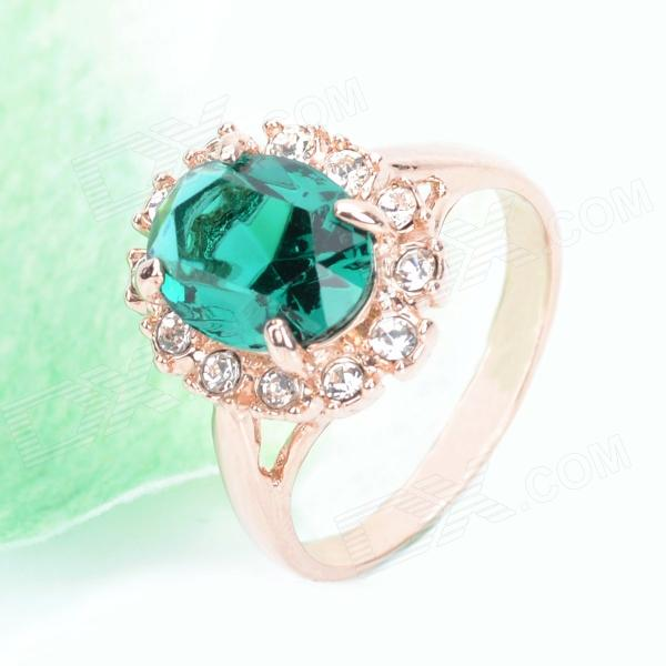 KCCHSTAR18K Gold Plating Crystal Ring - Golden + Green (US Size-8)