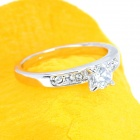 KCCHSTAR 18K Platinum Plating Shiny Crystal Ring - Silvery (US Size-8)