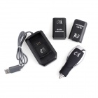 eJ YX-04 3-in-1 Xbox 360 Wireless Handle Car Charger + USB Ladestation + Akku Set - Schwarz