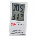 "KT-902 2 ""LCD Display Thermometer für Fish Bowl / Ambient - Weiß (1 x AG13)"