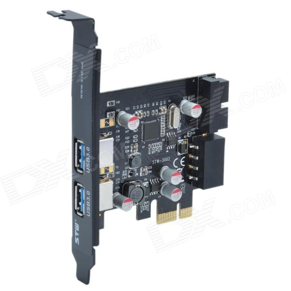 STW PCE4USB-R01 4-Port USB 3.0 PCI-Express to USB3.0 5Gb-High Speed Expansion Card - BlackOther Parts<br>Compatible with PCI Express 2.0 specification; USB 3.0 transmission speed up to 5Gbps compatible with USB 2.0 / 1.1; Powered by large 4-pin connector; supports USB hot swapping plug and play; Low power consumption and energy-saving Chipset: NEC D720201 CD: http://m5.img.dxcdn.com/CDDriver/CD/sku.266850.rar<br>