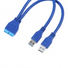 ULT-unite ULT-6202 2-Port USB 3.0 Male to Motherboard 20-Pin Male Converter Cable - Blue (15cm)