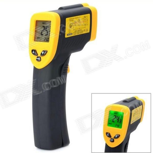 KEYI DT-380 Non Contact Digital Infrared IR Thermometer w/ Laser Sight - Black + Yellow (2 x AAA) yihm hm 40 1 8 lcd handheld laser distance meter black blue 2 x aaa 0 05 40m