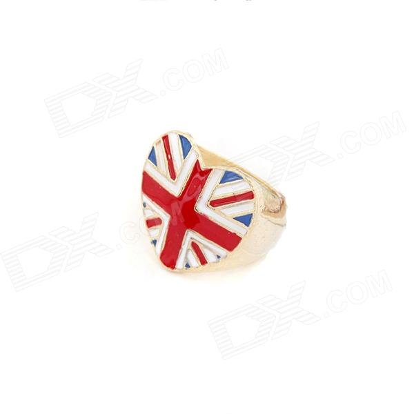 Fashion UK Flagge Muster Pfirsich-Herz-Form-Ring - Bunt