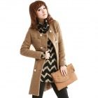 Fashionable Women's Long Woolen Coat - Khaki (Size-L)