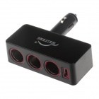 WEIFENG WF-046 1-to-3 Car Cigarette Lighter Power Splitter Adapter w/ USB Output - Black (12~24V)