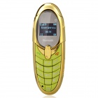 "X5 Bluetooth V2.0 GSM Bar Phone Compatible with Iphone and Ipad w/ 0.65"" FM - Golden + Green"