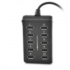 High Speed USB 2.0 10-Port Hub w/ Switch / Indicator - Black