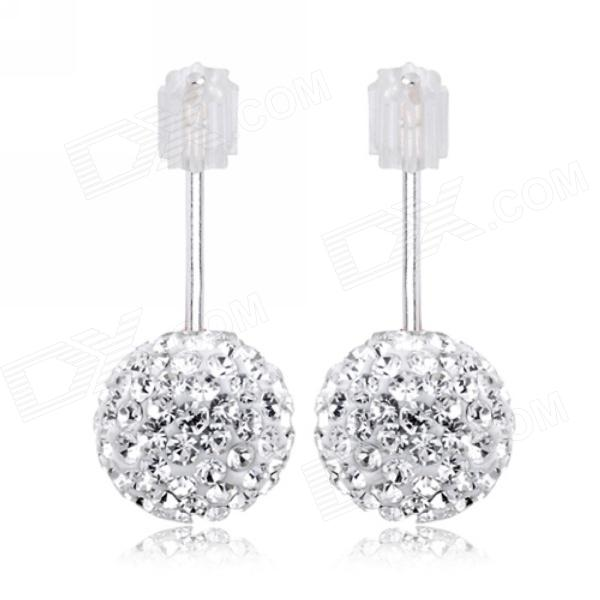 eQute ESIW33C1 Elegant 925 Sterling Silver 6mm Shiny Austrial Crystal White Earrings sterling silver ear thread