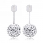 eQute ESIW33C1 Elegant 925 Sterling Silver 6mm Shiny Austrial Crystal White Earrings