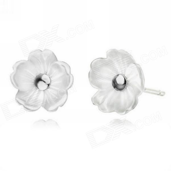 eQute ESIW109 925 Sterling Silver Pearl Petalage Flora Snowflake Studs for Woman sterling silver ear thread