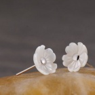 eQute ESIW109 925 Sterling Silver Pearl Petalage Flora Snowflake Studs for Woman