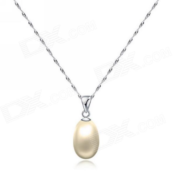 eQute PSIW266 925 Sterling Silver Fresh Water Pearl Pendant Necklace (20-Chain)