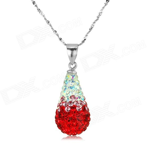 eQute PSIW300C4 S925 Sterling Silver Austria Red Crystal Pendant Necklace (18-Chain)