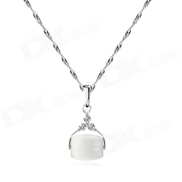 eQute PSIW214S4 S925 Sterling Silver Zircon Cat's eye Pendant Necklace (18''-Chain) equte psiw3coot1 s925 sterling silver necklace cat s eye axe pendant chain white silver 16