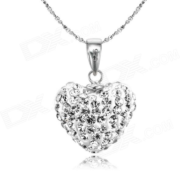 eQute PSIW304C1 925 Sterling Silver Austria Crystal White Heart Pendant Necklace (18-Chain) equte psiw20c1 elegant 925 sterling silver pearl pendant necklace silver 18