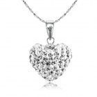 eQute PSIW304C1 925 Sterling Silver Austria Crystal White Heart Pendant Necklace (18-Chain)