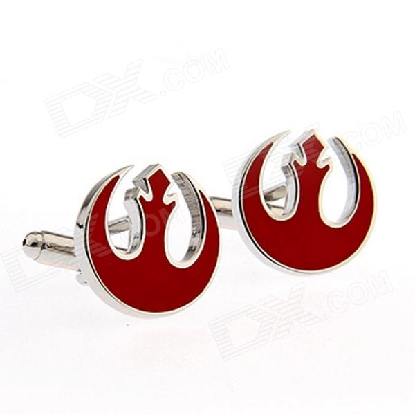 Alliance Starbird Plating Enamel Cufflinks - Silver +  Red (Pairs)
