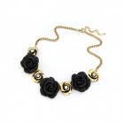 Fashionable Metallic Roses Short Style Necklace - Black + Antique Copper