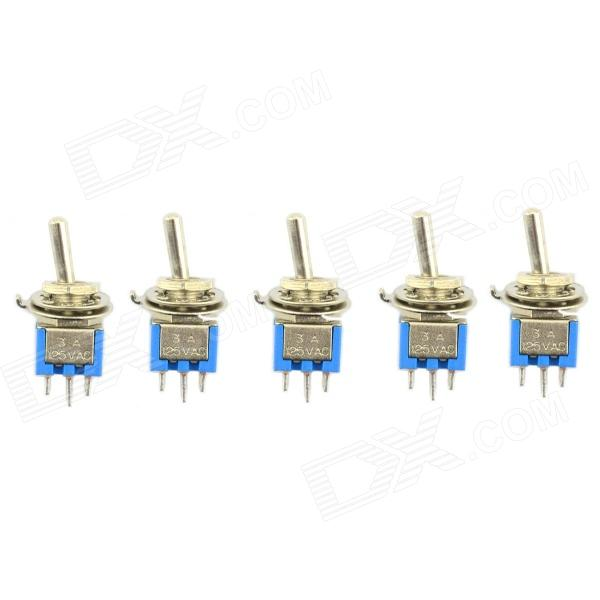Jtron DIY 6-Pin alternar on-on - azul + prata (5-Piece pack)