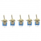 Jtron DIY 6-Pin Toggle Switch ON-ON - Blue + Silver (5-Piece Pack)