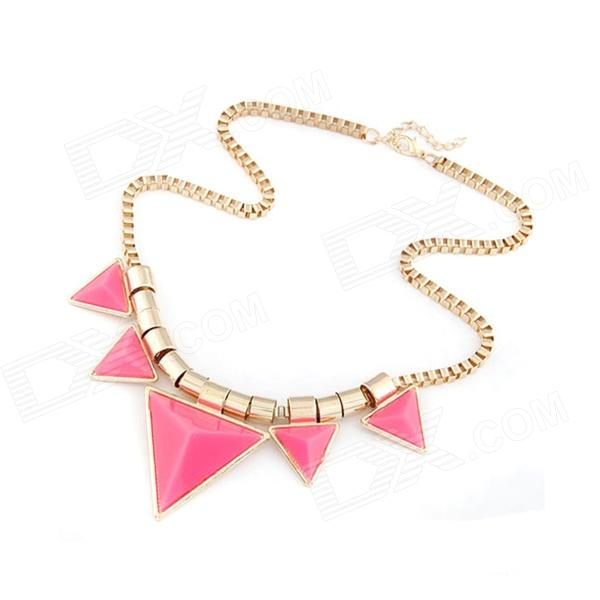 Fashionable Characteristic Triangles Pattern Necklace - Pink + Golden - DXNecklaces<br>Color Others Quantity 1 Piece Gender Women Suitable for Adults Chain Material Zinc Alloy Pendant Material Zinc Alloy+ Oil Drip Chain Length 45 cm Chain Width 11 cm Packing List 1 x Necklace<br>