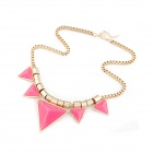 Fashionable Characteristic Triangles Pattern Necklace - Pink + Golden