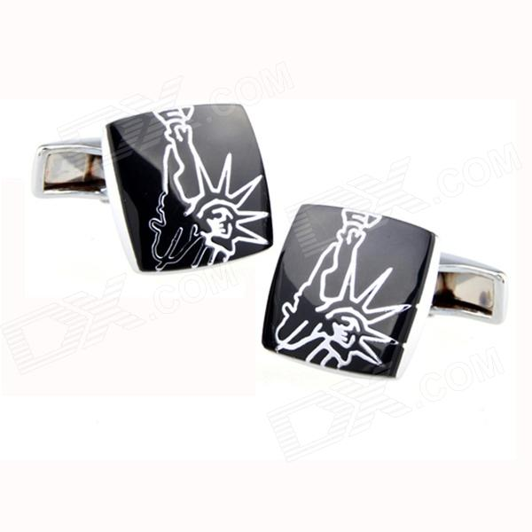 Statue of Liberty Design Men's Cufflinks - Silver + Black (Pair)