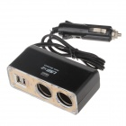 WF-026 1-to-2 Car Cigarette Lighter Power Splitter Adapter w/ Dual-USB Output - Black + Golden