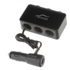 WEIFENG WF-045 1-to-3 Car Cigarette Lighter Power Splitter Adapter w/ 3-Switch - Black (12~24V)