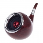 Tobacco Pipe Style Mini Portable Rechargeable Multimedia Speaker - Red Brown + Silver