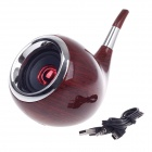 Tobacco Pipe Style mini altavoz portátil recargable multimedia - rojo marrón + plata