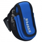 KEEPER Outdoor Portable Mini Arm Mobile Phone Carrying Bag / Pouch for Mountaineering - Blue + Black
