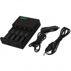 SingFire US-UC1 4-Slot Intelligent Universal Battery Charger w/12V Car Charger - Black (EU Plug)