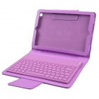 Wireless Bluetooth V3.0 77- Key Silicone Keyboard w/ PU Leather Case for Ipad MINI - Purple