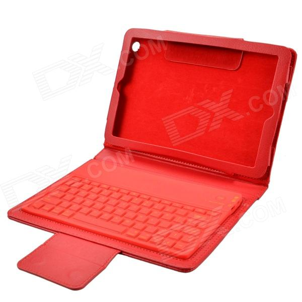 Wireless Bluetooth V3.0 77- Key Silicone Keyboard w/ PU Leather Case for Ipad MINI - Red