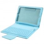 Wireless Bluetooth V3.0 77- Key Silicone Keyboard w/ PU Leather Case for Ipad MINI - Light Blue
