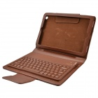 Wireless Bluetooth V3.0 77- Key Silicone Keyboard w/ PU Leather Case for Ipad MINI - Brown