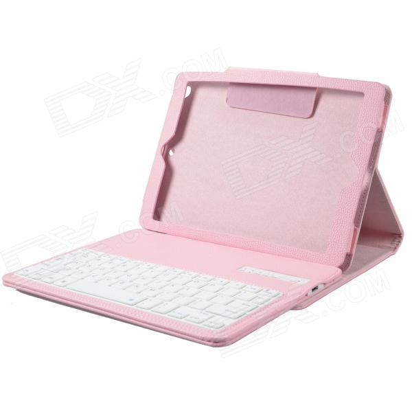 Detachable Wireless Bluetooth V3.0 64-Key  Keyboard w/ PU Leather Case for Ipad AIR - Pink 84 key bluetooth v3 0 keyboard w detachable pu case for ipad air green
