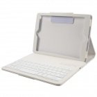 Detachable Wireless Bluetooth V3.0 64-Key  Keyboard w/ PU Leather Case for New Ipad AIR - White